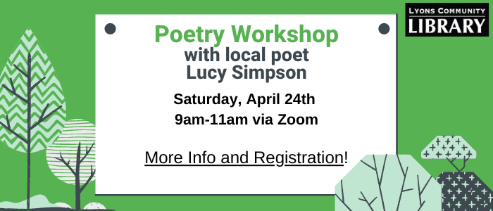 Information about a poetry workshop on April 24th